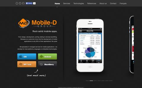 Screenshot of Home Page mobiledgroup.com - Mobile-D Group - Managed services for mobile applications - captured Oct. 9, 2014