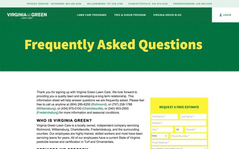Screenshot of FAQ Page virginiagreenlawncare.com - Frequently Asked Questions - Virginia Green Lawn Care :: Richmond VA :: Charlottesville VA :: Williamsburg VA - captured Nov. 4, 2018
