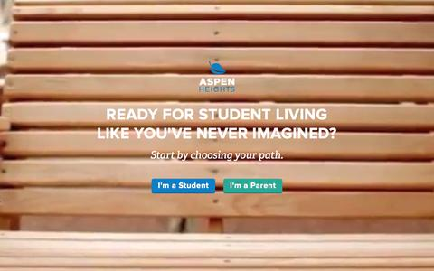 Screenshot of Home Page myaspenheights.com - Student Housing and Apartments | Aspen Heights - captured Nov. 21, 2015