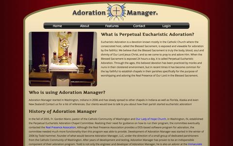 Screenshot of About Page adorationmanager.com - Adoration Manager About Us - captured Feb. 5, 2016