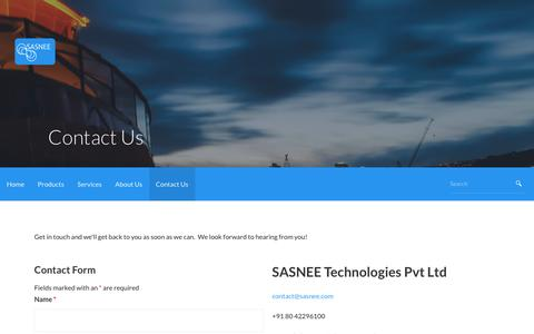 Screenshot of Contact Page sasnee.com - Contact Us – SASNEE Technologies - captured Nov. 19, 2016