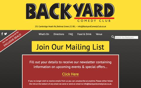 Screenshot of Signup Page backyardcomedyclub.co.uk - Join Our Mailing List - captured Dec. 21, 2018
