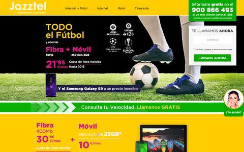 Screenshot of Home Page promociones-jazztel-online.es - Contrata Fibra y Móvil por 23€/mes. Precio todo incluido - captured Sept. 21, 2018