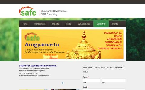 Screenshot of Contact Page safengo.in - SAFE - Contact Us - SAFE - Society for Accident Free Environment - captured Feb. 15, 2016