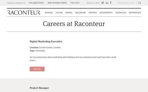 Screenshot of Jobs Page raconteur.net - Careers - raconteur.net - captured Sept. 23, 2014
