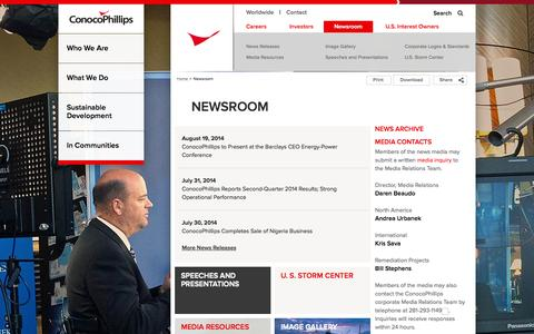Screenshot of Press Page conocophillips.com - Newsroom | ConocoPhillips - captured Sept. 23, 2014