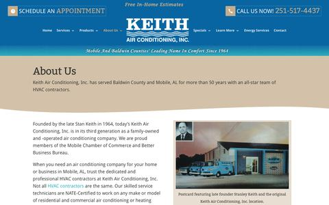 Screenshot of About Page keithair.com - About Us - Keith Air Conditioning Inc. - Serving Mobile & Baldwin County, AL - captured Oct. 17, 2017