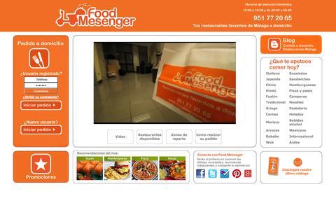 Screenshot of Home Page foodmesenger.com - Food Mesenger, Comida a domicilio de restaurantes de Malaga - captured Sept. 19, 2014
