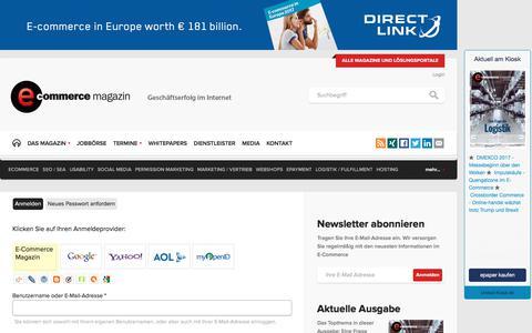 Screenshot of Login Page e-commerce-magazin.de - Login | E-Commerce Magazin - captured Oct. 14, 2017