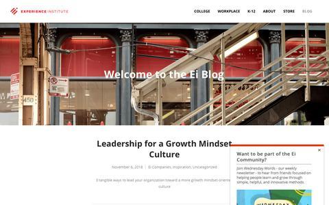 Screenshot of Blog expinstitute.com - Welcome to the Ei Blog - Experience Institute - captured Nov. 9, 2018