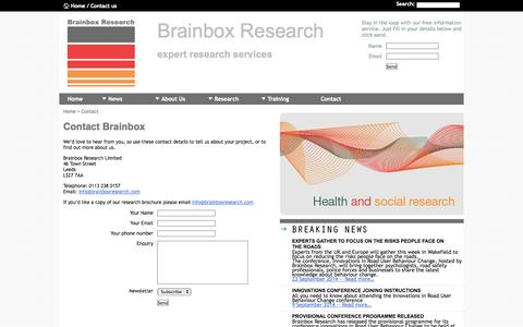 Screenshot of Contact Page brainboxresearch.com - Brainbox Research - Qualitative Research, Quantitative Research, Marketing and Training - captured Sept. 30, 2014