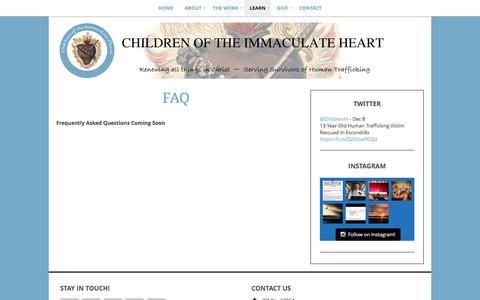 Screenshot of FAQ Page childrenoftheimmaculateheart.org - FAQ | Children of the Immaculate Heart - captured Dec. 8, 2015