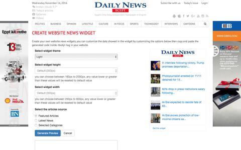 Screenshot of Developers Page dailynewsegypt.com - Create website news widget - Daily News Egypt - captured Nov. 15, 2016