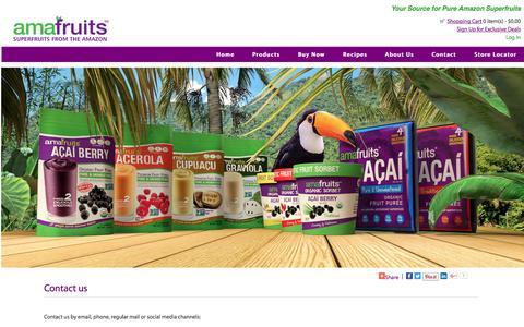 Screenshot of Contact Page amafruits.com - Contact us : Amafruits, Superfruits from the Amazon - Acai, Acerola, Cupuacu, Graviola - captured May 29, 2017