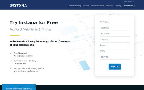 Screenshot of Trial Page instana.com - Instana - Full Stack Visibility in 5 minutes! - captured Sept. 11, 2019