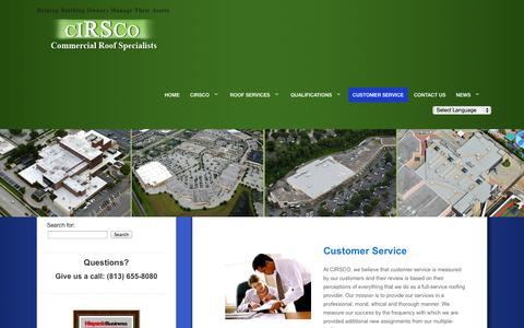 Screenshot of Support Page cirscocontracting.com - Cirsco Customer Service - captured Oct. 1, 2014