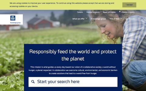Screenshot of Home Page yara.com - Yara International - captured March 18, 2018