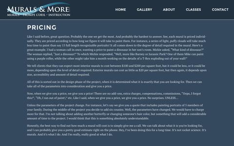 Screenshot of Pricing Page muralsandmore.com - Pricing | Murals & More LLC - captured Feb. 16, 2016