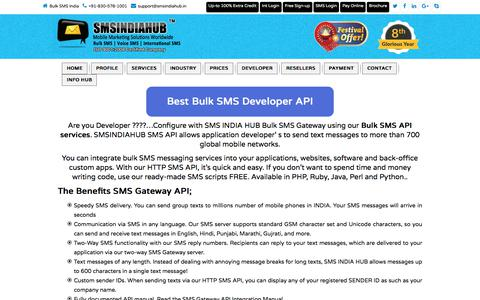 Screenshot of Developers Page smsindiahub.com - Robust Bulk SMS API for your business - captured Oct. 12, 2017