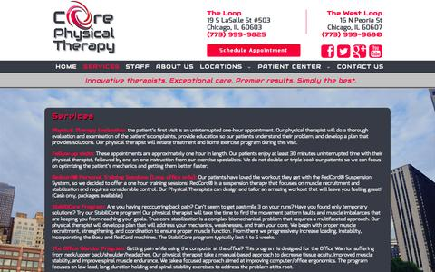 Screenshot of Services Page coreptclinics.com - Core Physical Therapy - captured Nov. 2, 2014