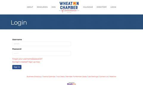 Screenshot of Login Page wheatonchamber.com - Login - captured Oct. 12, 2019