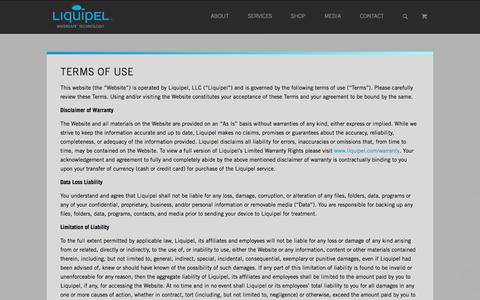 Screenshot of Terms Page liquipel.com - Terms of Use - Liquipel - captured Sept. 16, 2014