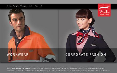 Screenshot of Home Page weil.ag - J. Weil Corporate Wear AG - captured Oct. 3, 2014