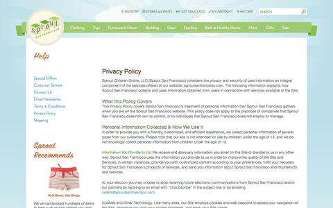 Screenshot of Privacy Page sproutsanfrancisco.com - Privacy Policy -             Help -                 Sprout San Francisco is a natural and organic children's boutique - captured Aug. 16, 2016