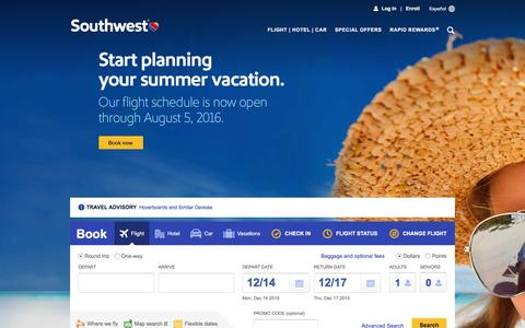 Screenshot of Home Page southwest.com - Southwest Airlines | Book Flights, Airline Tickets, Airfare - captured Dec. 13, 2015