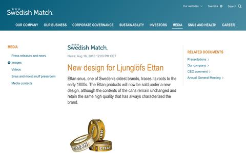 Screenshot of Press Page swedishmatch.com - Swedish Match - New design for Ljunglöfs Ettan - captured Nov. 1, 2018