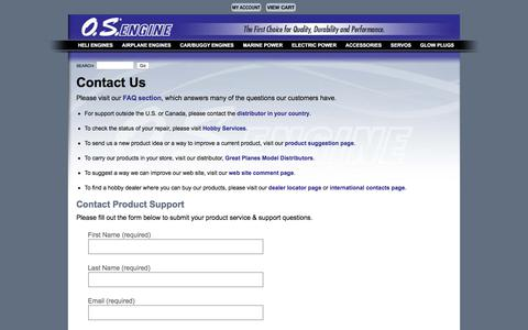 Screenshot of Support Page osengines.com - O.S. Engines - Contact Us - captured Oct. 17, 2017