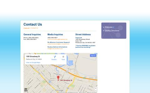Screenshot of Contact Page hopelab.org - HopeLab - captured July 20, 2014