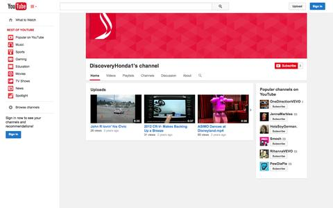 Screenshot of YouTube Page youtube.com - DiscoveryHonda1's channel  - YouTube - captured Oct. 26, 2014
