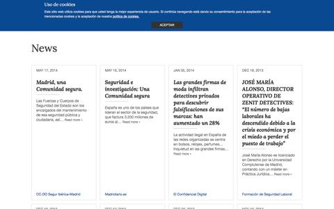 Screenshot of Press Page zenitdetectives.es - News - Zenit Private Detectives - captured Dec. 2, 2016