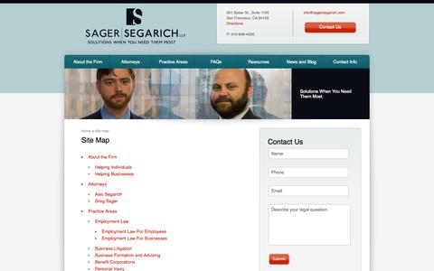 Screenshot of Site Map Page sagersegarich.com - Sager | Segarich - Site Map - captured Oct. 4, 2014