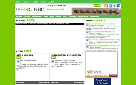 Screenshot of Home Page newsscreenngr.com - Newsscreen - captured Oct. 6, 2014