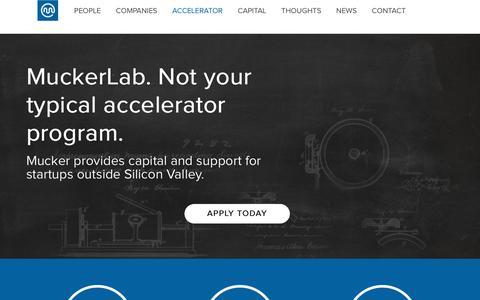 Screenshot of About Page mucker.com - Accelerator | Mucker Capital - captured Feb. 7, 2019