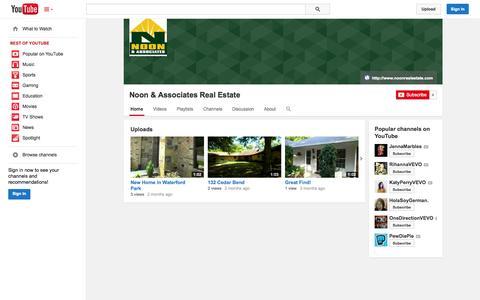 Screenshot of YouTube Page youtube.com - Noon & Associates Real Estate  - YouTube - captured Nov. 4, 2014