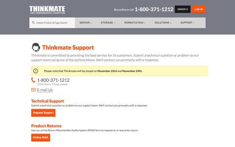 Screenshot of Support Page thinkmate.com - Support - Thinkmate - captured Nov. 20, 2017