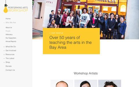 Screenshot of Team Page performingartsworkshop.org captured May 16, 2017