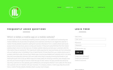 Screenshot of FAQ Page mycalidesigns.com - FAQ's | About | Websites | Design | Business | Branding - captured Oct. 6, 2014