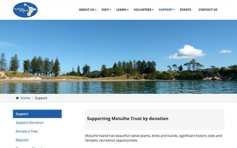Screenshot of Support Page motuihe.org.nz - Support - Motuihe Island Restoration Trust - captured Oct. 30, 2018
