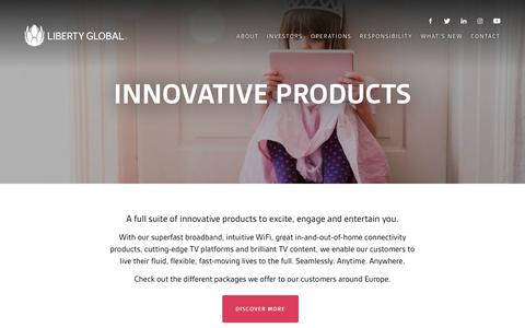 Screenshot of Products Page libertyglobal.com - Products - Liberty Global - captured June 8, 2018