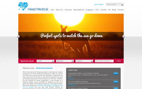Screenshot of Home Page Blog About Page Privacy Page Contact Page Jobs Page Site Map Page Terms Page headmedical.com - Medical jobs | Doctor jobs  | Australia | New Zealand | Singapore | Gulf Region | Canada | UK | Head Medical - captured Sept. 29, 2014