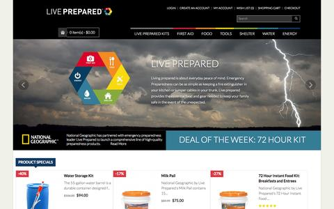 Screenshot of Home Page liveprepared.com - Live Prepared - Emergency Products - National Geographic - captured Sept. 22, 2014