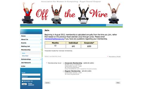 Screenshot of Signup Page awcps.org - Association for Women in Computing - Puget Sound - Join - captured Oct. 4, 2014