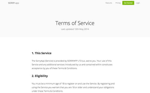 Our Terms & Conditions of Service | Sorry