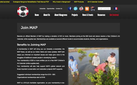 Screenshot of Signup Page mangroveactionproject.org - Join MAP | Mangrove Action Project - captured Oct. 9, 2014