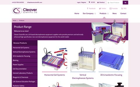 Screenshot of Products Page cleaverscientific.com - Products - Cleaver Scientific - captured Oct. 2, 2014