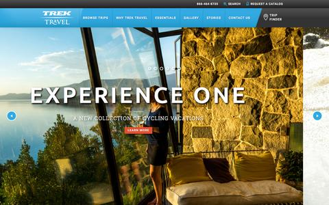 Screenshot of Home Page trektravel.com - Trek Travel Luxury Cycling Vacations of a Lifetime - captured Oct. 2, 2015